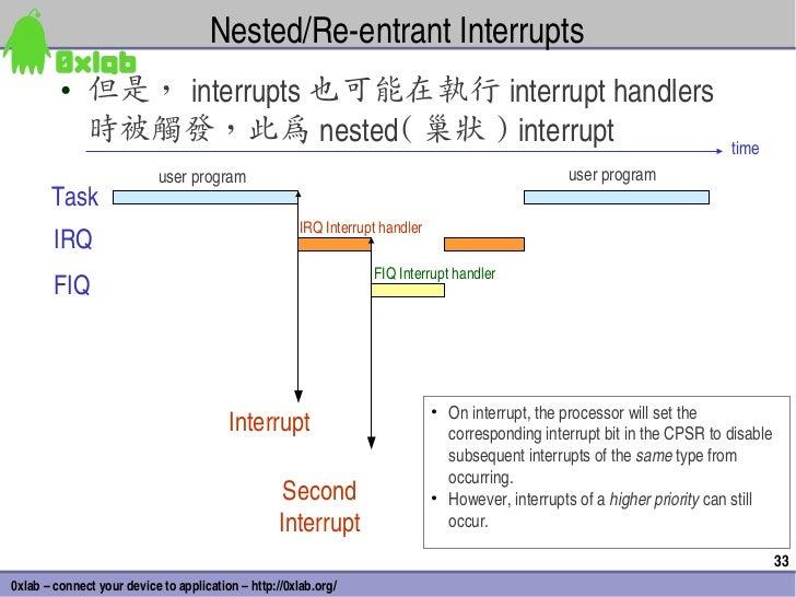 Nested/ReentrantInterrupts         • 但是, interrupts 也可能在執行 interrupthandlers           時被觸發,此為 nested( 巢狀 )interrupt ...