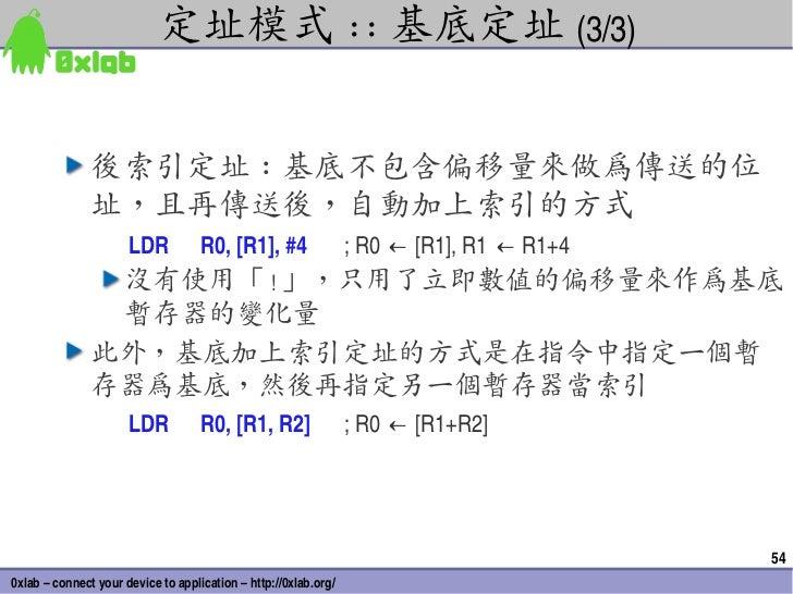 定址模式 :: 基底定址 (3/3)               後索引定址 : 基底不包含偏移量來做為傳送的位               址,且再傳送後,自動加上索引的方式                      LDR         ...