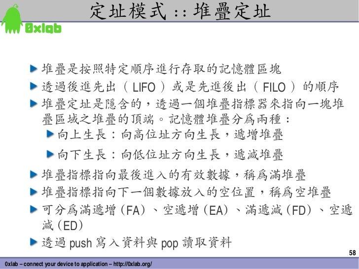 定址模式 :: 堆疊定址               堆疊是按照特定順序進行存取的記憶體區塊               透過後進先出( LIFO )或是先進後出( FILO )的順序               堆疊定址是隱含的,透過一個堆疊...