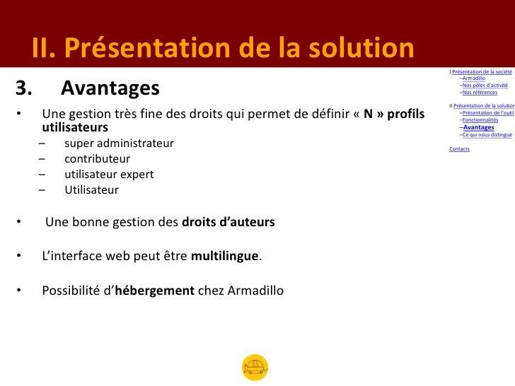 II. Présentation de la solution                                                                            I.Présentation ...
