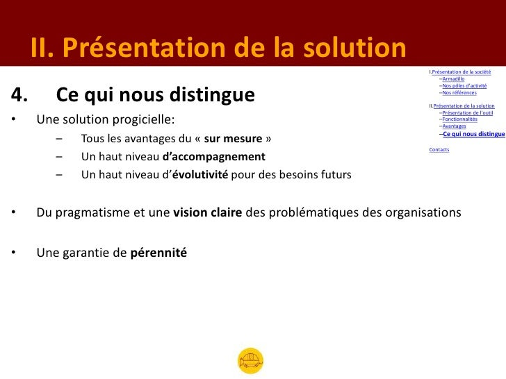 II. Présentation de la solution                                                                       I.Présentation de la...