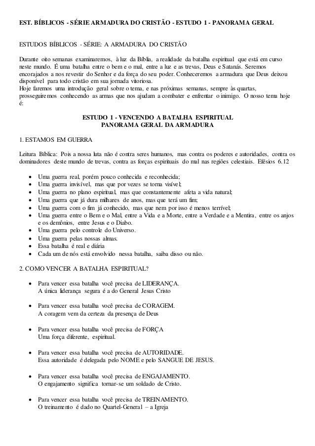 EST. BÍBLICOS - SÉRIE ARMADURA DO CRISTÃO - ESTUDO 1 - PANORAMA GERAL ESTUDOS BÍBLICOS - SÉRIE: A ARMADURA DO CRISTÃO Dura...