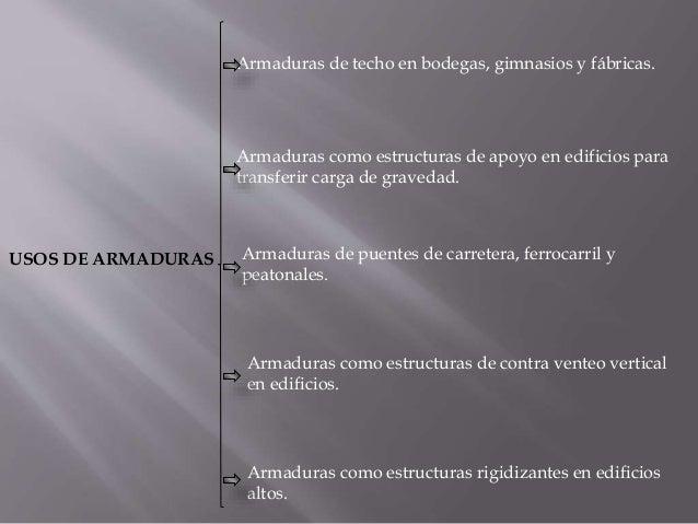 USOS DE ARMADURAS Armaduras de techo en bodegas, gimnasios y fábricas. Armaduras como estructuras de apoyo en edificios pa...