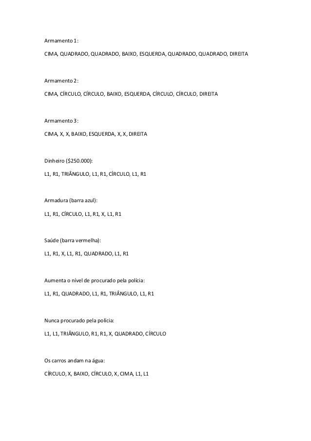 Armamento 1:CIMA, QUADRADO, QUADRADO, BAIXO, ESQUERDA, QUADRADO, QUADRADO, DIREITAArmamento 2:CIMA, CÍRCULO, CÍRCULO, BAIX...