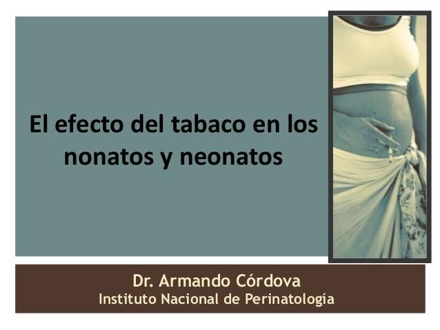 El efecto del tabaco en los    nonatos y neonatos          Dr. Armando Córdova      Instituto Nacional de Perinatología
