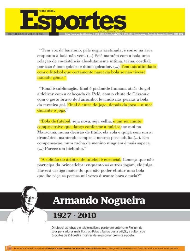 Esportes de ZH homenageia Armando Nogueira