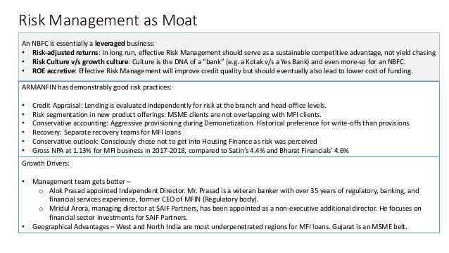 Risk Management as Moat An NBFC is essentially a leveraged business: • Risk-adjusted returns: In long run, effective Risk ...