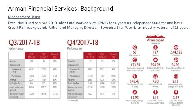 Arman Financial Services: Background Management Team: Executive Director since 2010, Alok Patel worked with KPMG for 4 yea...
