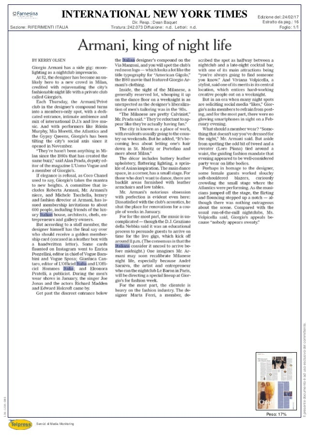 Tiratura: 242.073 Diffusione: n.d. Lettori: n.d. Dir. Resp.: Dean Baquet Servizi di Media Monitoring Sezione: RIFERIMENTI ...