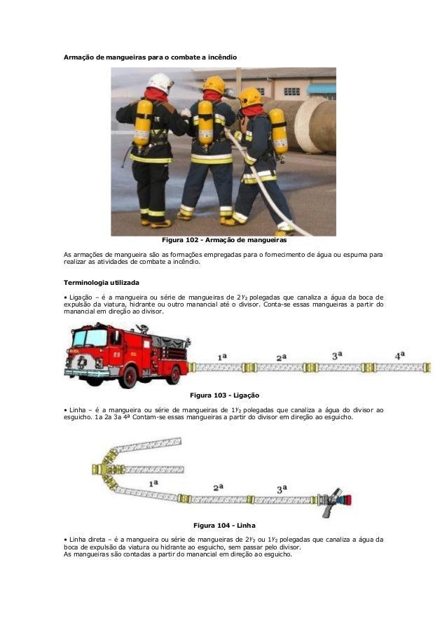 Armação de mangueiras para o combate a incêndio Figura 102 - Armação de mangueiras As armações de mangueira são as formaçõ...