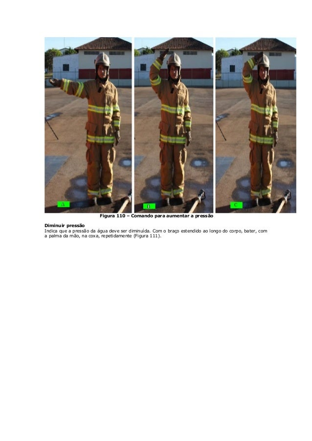Figura 110 – Comando para aumentar a pressão Diminuir pressão Indica que a pressão da água deve ser diminuída. Com o braço...