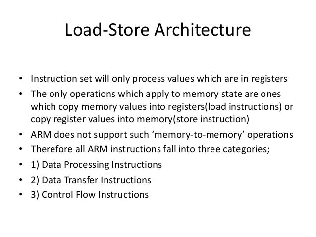 Load and store instructions: ld (load accumulator).