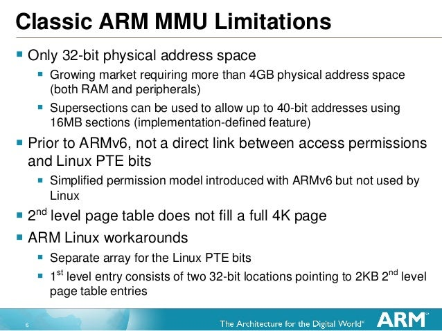 6 Classic ARM MMU Limitations  Only 32-bit physical address space  Growing market requiring more than 4GB physical addre...