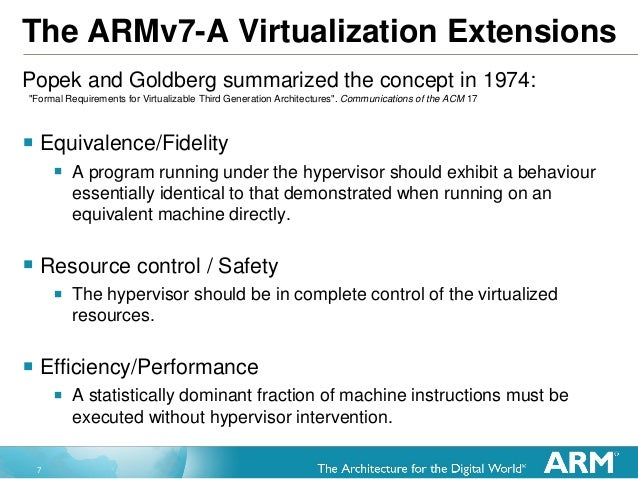 7 The ARMv7-A Virtualization Extensions Popek and Goldberg summarized the concept in 1974:  Equivalence/Fidelity  A prog...