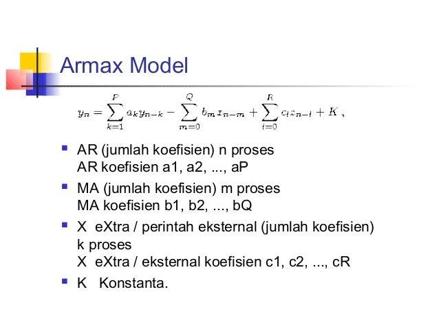 Armax Model  AR (jumlah koefisien) n proses AR koefisien a1, a2, ..., aP  MA (jumlah koefisien) m proses MA koefisien b1...