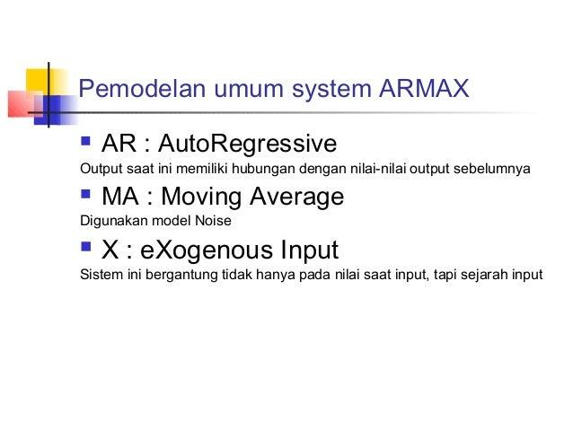 Pemodelan umum system ARMAX  AR : AutoRegressive Output saat ini memiliki hubungan dengan nilai-nilai output sebelumnya ...