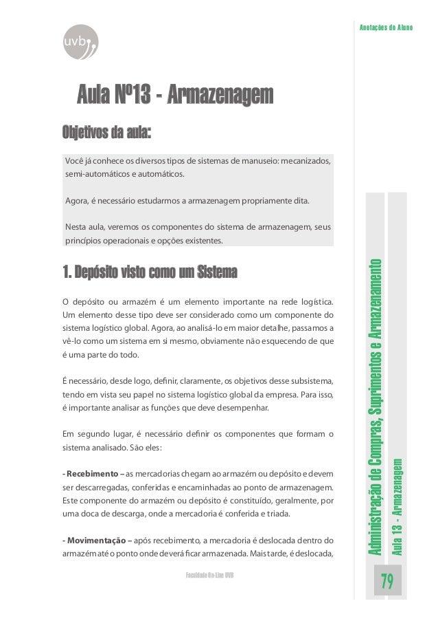 AdministraçãodeCompras,SuprimentoseArmazenamento Aula13-Armazenagem 79Faculdade On-Line UVB Anotações do Aluno uvb Aula Nº...