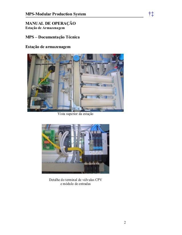 MPS-Modular Production System †‡ 2 MANUAL DE OPERAÇÃO Estação de Armazenagem MPS – Documentação Técnica Estação de armazen...