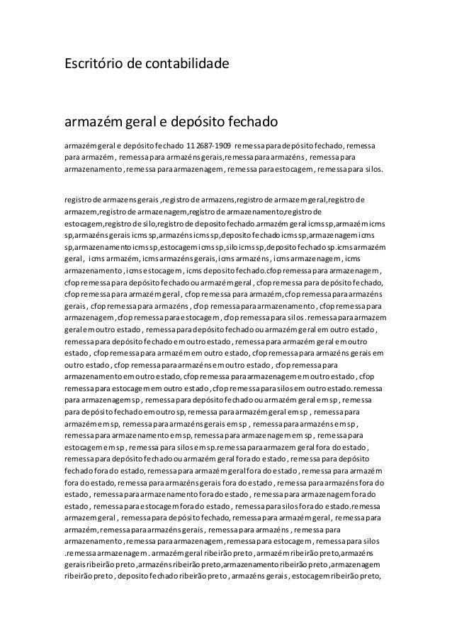 Escritório de contabilidade armazém geral e depósito fechado armazémgeral e depósitofechado 11 2687-1909 remessaparadepósi...