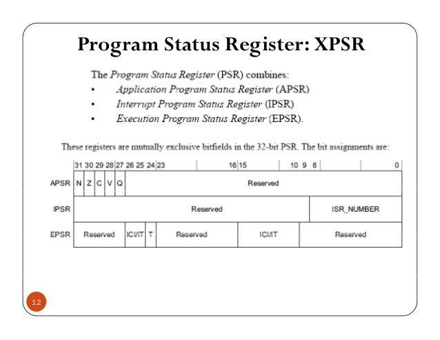 Program Status Register: XPSR 12