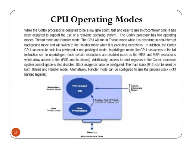CPU Operating Modes 17