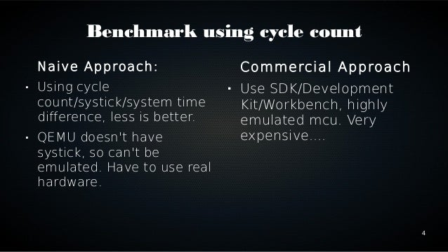 4  Benchmark using cycle count  Naive Approach:   Using cycle  count/systick/system time  difference, less is better.   ...