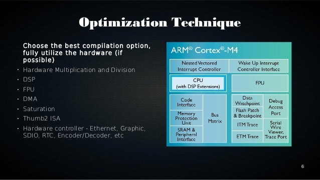 6  Optimization Technique  Choose the best compilation option,  fully utilize the hardware (if  possible)   Hardware Mult...