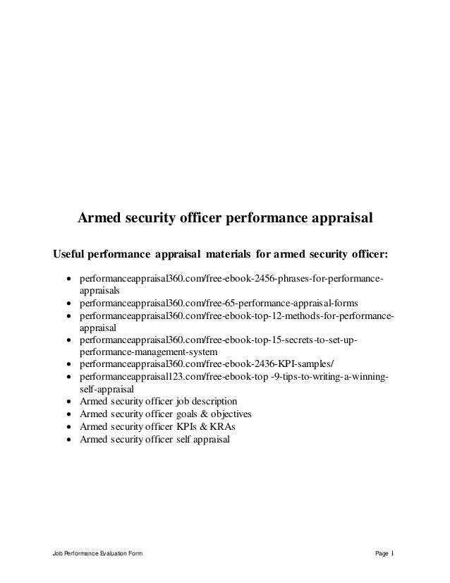 Job Performance Evaluation Form Page 1 Armed security officer performance appraisal Useful performance appraisal materials...