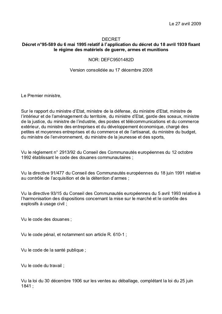 Le 27 avril 2009                                      DECRETDécret n°95-589 du 6 mai 1995 relatif à l'application du décre...