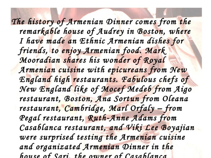 Armenian dinner presentation for Armenian cuisine history