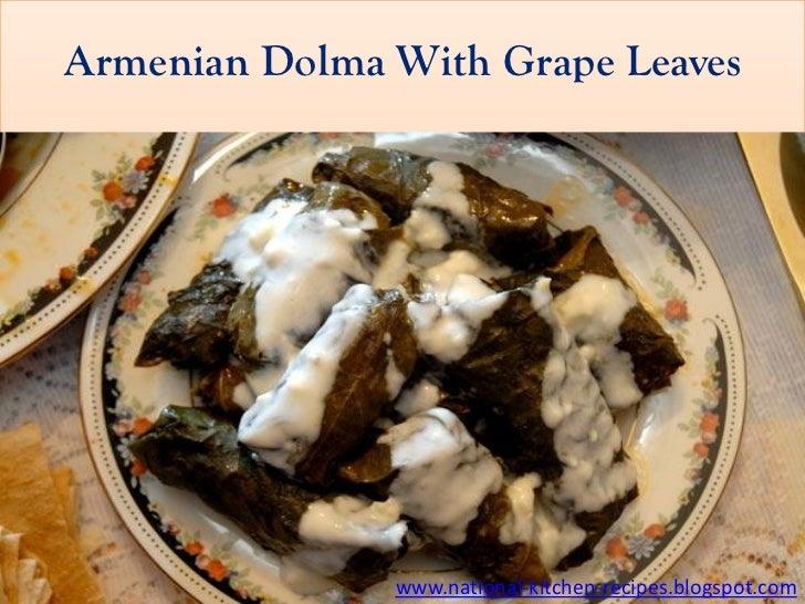 Armenian Dolma With Grape Leaves               www.national-kitchen-recipes.blogspot.com