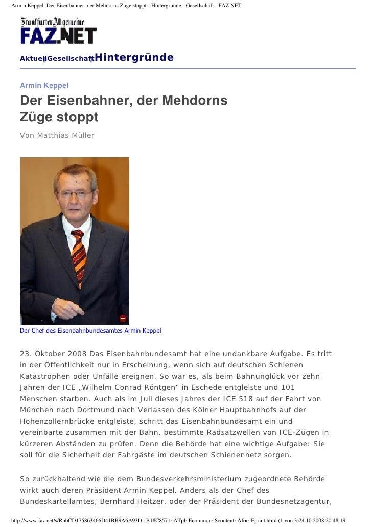 Armin Keppel: Der Eisenbahner, der Mehdorns Züge stoppt - Hintergründe - Gesellschaft - FAZ.NET        AktuellGesellschaft...