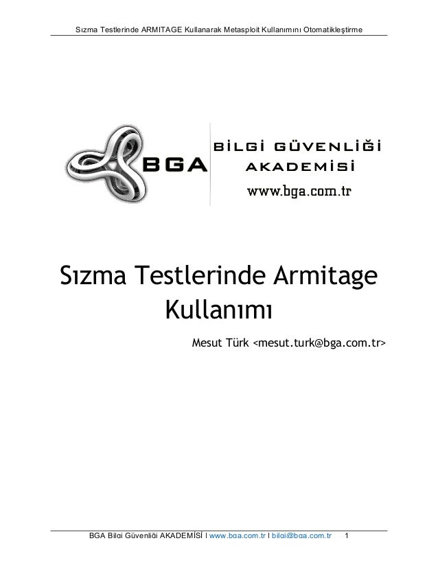 Sızma Testlerinde ARMITAGE Kullanarak Metasploit Kullanımını Otomatikleştirme  Sızma Testlerinde Armitage  Kullanımı  Mesu...