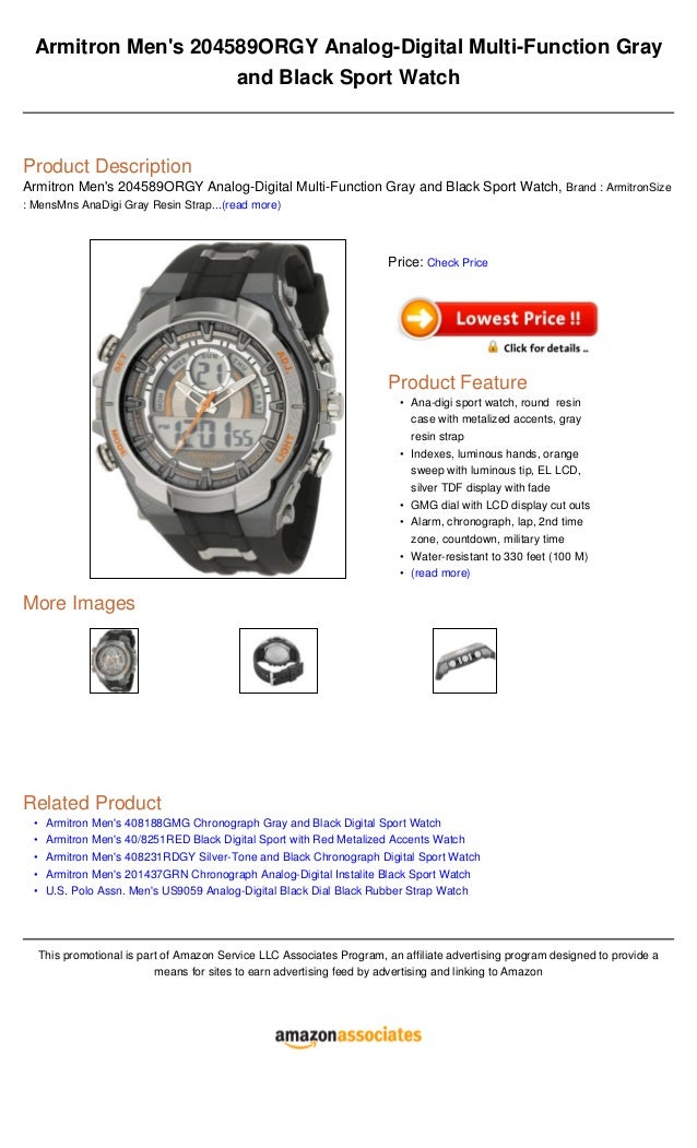 988dcc15d9ad Armitron men's 204589 orgy analog digital multi-function gray and black  sport watch