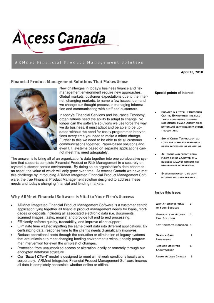 ARMnet Financial Product Management News