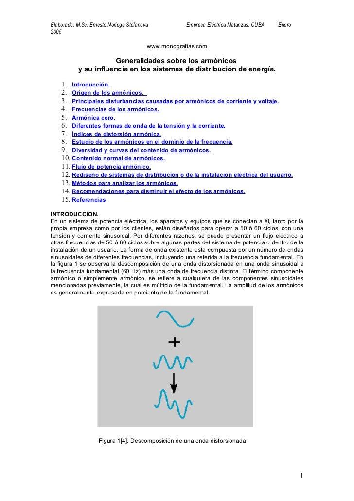 Elaborado: M.Sc. Ernesto Noriega Stefanova           Empresa Eléctrica Matanzas. CUBA   Enero2005                         ...