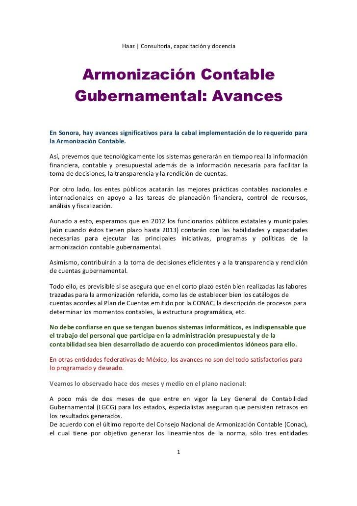 Haaz   Consultoría, capacitación y docencia          Armonización Contable         Gubernamental: AvancesEn Sonora, hay av...