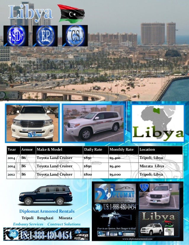 Armored cars for Rent Libya Price Guide: Diplomat Armored Rentals