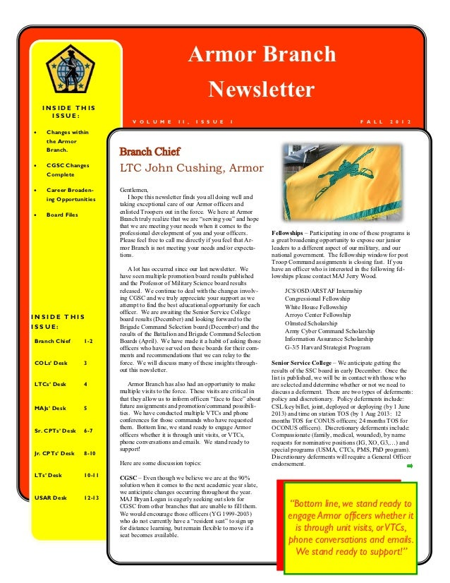Armor Branch                                                       Newsletter    INSIDE THIS      ISSUE:                  ...