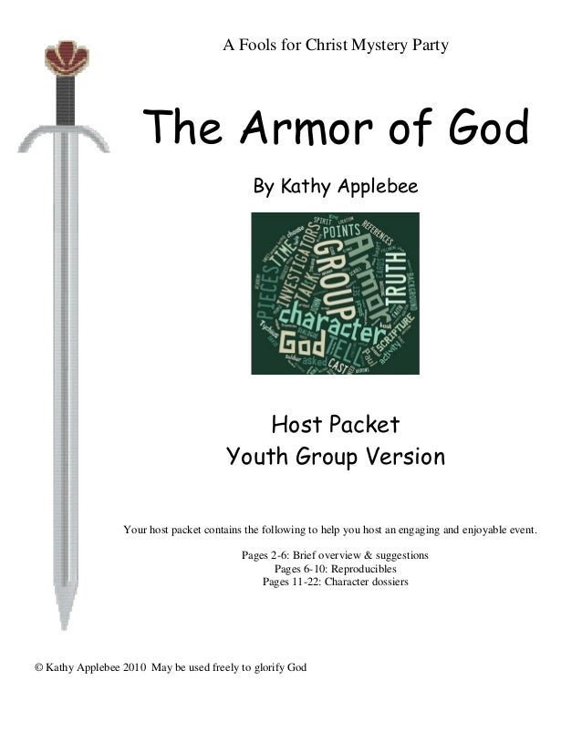 Armor Of God Mystery Activity A Fools For Christ Party The