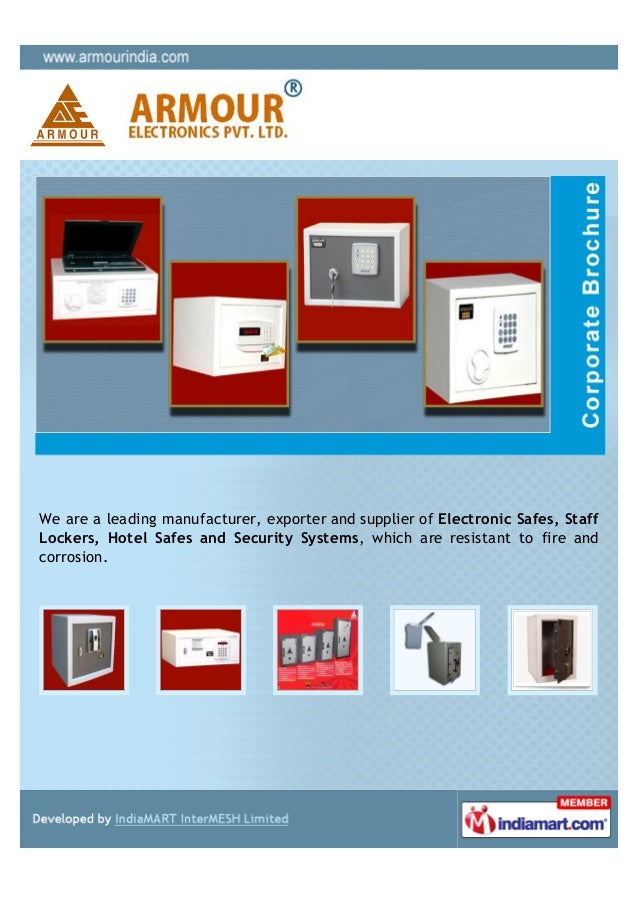 We are a leading manufacturer, exporter and supplier of Electronic Safes, StaffLockers, Hotel Safes and Security Systems, ...