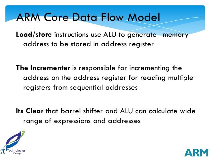 ARM Core Data Flow ModelLoad/store instructions use ALU to generate memory  address to be stored in address registerThe In...