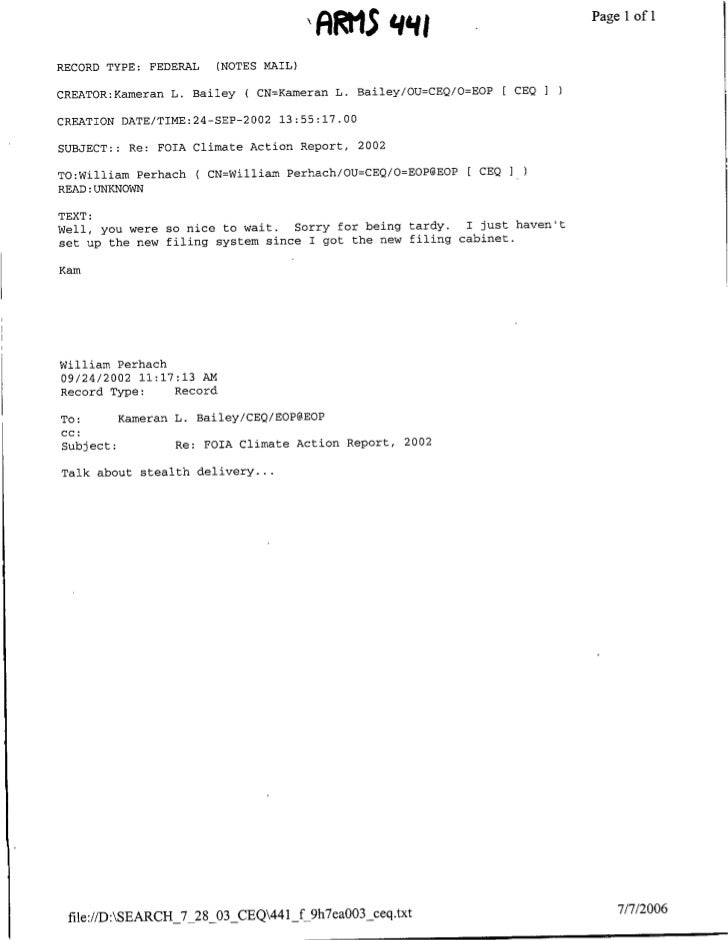 ARM1S     q gPage                  Ilof 1  RECORD TYPE:      FEDERAL   (NOTES MAIL)  CREATOR:Kamerafl L. Bailey      ( CN=...