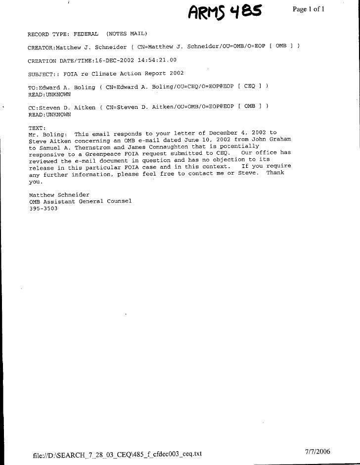 ARM5 '485PagelIofi1 RECORD TYPE:   FEDERAL    (NOTES MAIL)  CREATOR:Matthew J. Schneider     ( CN=Matthew J. Schneider/OU=...