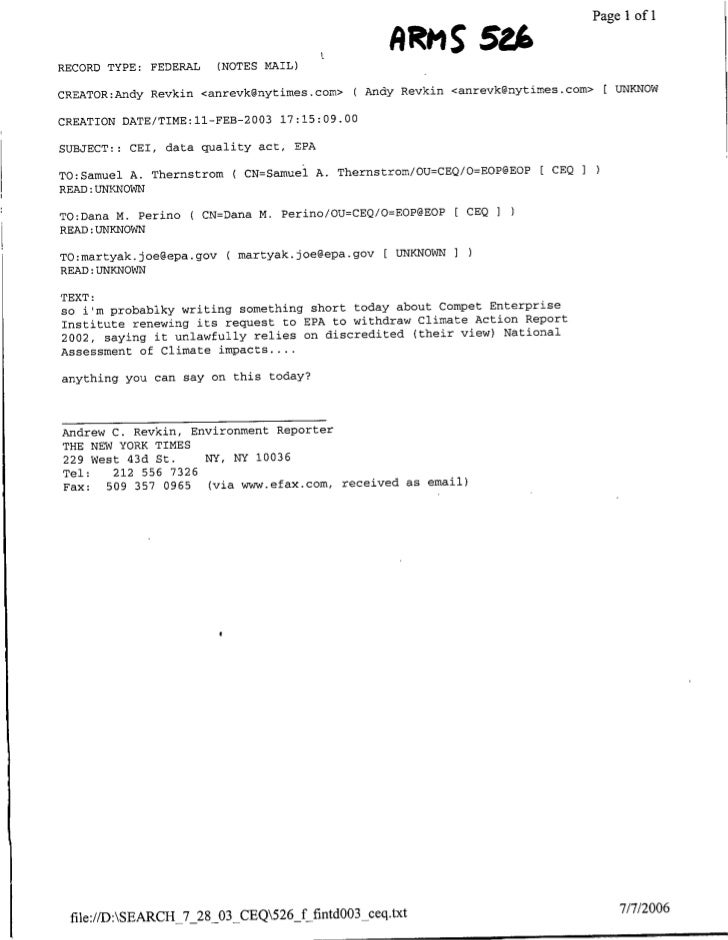 Page 1 of 1   RECORD TYPE: FEDERAL      (NOTES MAIL)             AM              2 CREATOR:Andy Revkin <anrevkcgnytimes.co...