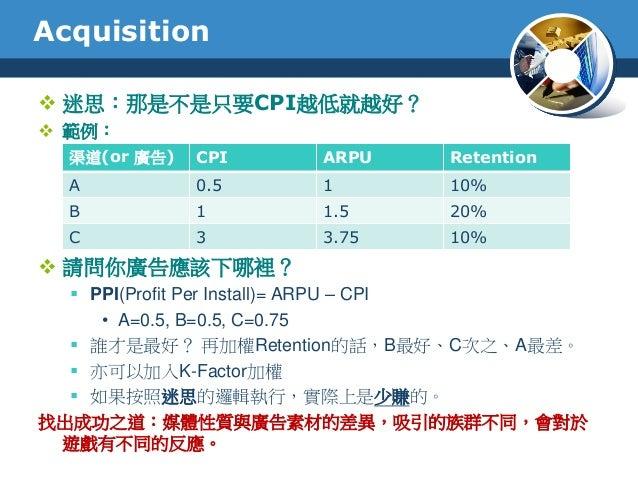 Acquisition 迷思:那是不是只要CPI越低就越好? 範例: 請問你廣告應該下哪裡? PPI(Profit Per Install)= ARPU – CPI• A=0.5, B=0.5, C=0.75 誰才是最好? 再加權Re...