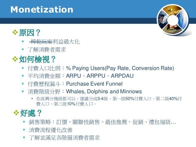 Monetization原因? 榨乾玩家利益最大化 了解消費者需求如何檢視? 付費人口比例:% Paying Users(Pay Rate, Conversion Rate) 平均消費金額:ARPU、ARPPU、ARPDAU 付費...