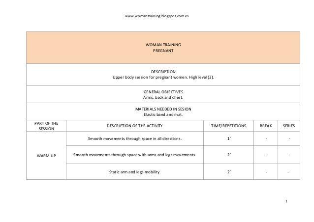 www.womantraining.blogspot.com.es 1 WOMAN TRAINING PREGNANT DESCRIPTION Upper body session for pregnant women. High level ...