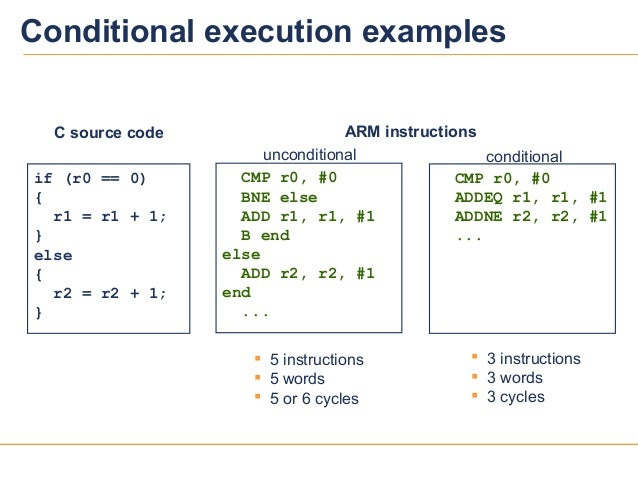 1010Conditional execution examplesif (r0 == 0){r1 = r1 + 1;}else{r2 = r2 + 1;}C source code 5 instructions 5 words 5 or...