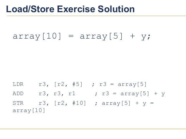 2020Load/Store Exercise Solutionarray[10] = array[5] + y;LDR r3, [r2, #5] ; r3 = array[5]ADD r3, r3, r1 ; r3 = array[5] + ...